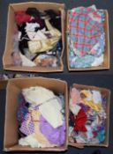 Four boxes including children's bedding, handkerchiefs, shawls, crewel work and printed panels etc