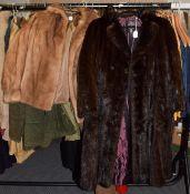 A short light mink jacket; M Fletcher of Southport dark mink double breasted coat (2)