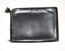 Hermes black leather document case, with zip around the outer edge, brass lock stamped 'Hermes