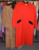 Frimble of Ripon red wool long coat with black velvet nehru collar, long sleeves, button fastening