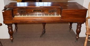 A 19th century mahogany and rosewood Clementi & Comp'y., London square piano, 180cm by 72cm by