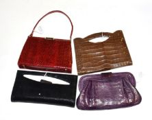 A red Fassbender handbag, a brown crocodile style bag with carrying handles and internal purse,