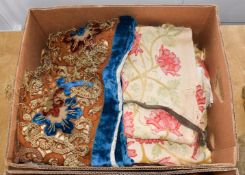Assorted 19th century and later textiles, comprising a quilted striped silk valanace (part), woven