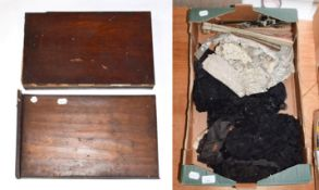 Assorted black lace edgings and trims, cream lace remnants, five assorted late 19th/20th century