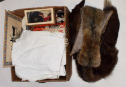 Assorted costume dolls; fox fur stole, another; ladies white cotton nightdresses; baby robes,