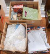 Assorted white linen, damask cloth, embroidered linen, crochet trimmed linen and crochet work,