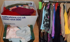Quantity of circa 1960s and 70's costume etc including flared trousers and separates, two boxes of