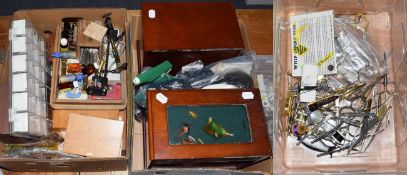 A Collection Of Various Fly Tying Equipment to include storage cabinets, boxes, tools, materials and
