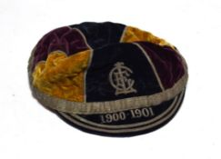 Coleraine School Sporting Cap 1900-01 with monogram embroidered to front (lacks tassel)