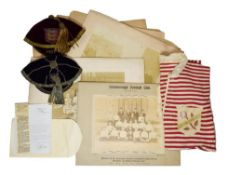 Charlie Beasley Victorian Rugby Union Items consisting of Lancashire Cap 1897-8 outfitter James
