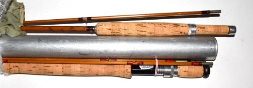A Hardy ''Salmon De-Luxe'' 3 Section Cane salmon Fly Rod with additional top section, 9-6'' long, #7