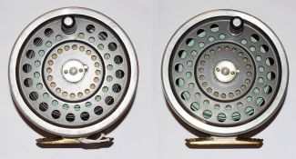 A Hardy Marquis Salmon No2 Salmon Fly Reel along with a further Hardy Marquis salmon No2 salmon