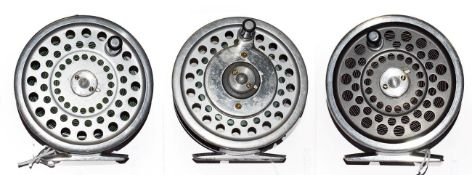 A Hardy Marquis #7 Multiplier Trout Fly Reel, a Hardy Marquis #8/9 trout fly reel and a Marquis #6