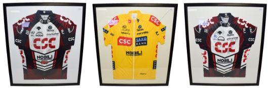 Tour De France 2007 Signed Shirts two Skoda Nobili CSC shirts bearing various signatures together