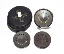 A Hardy Prefect 3 5/8'' RHW Trout Fly Reel with ceramic line guard and 2 additional spools (3)