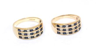 A pair of 9 carat gold sapphire and diamond rings, formed of three rows of five calibré cut