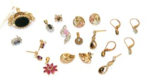 A collection of jewellery including four gem set pendants; six pairs of earrings, of various