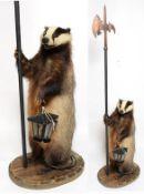 Taxidermy: Anthropomorphic European Badger Guard (Meles meles), circa late 20th century, a full