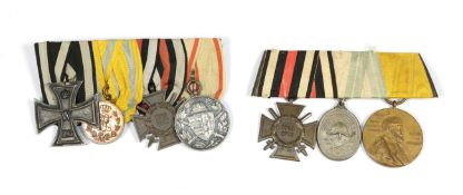 Two Great War Imperial German Medal Bars: - comprising 1914 Iron Cross 2nd Class;