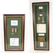 Casualty Medals from the Great War: - a pair, to 24717 Pte R G Turner Essex Regiment,