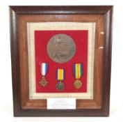 A First World War Casualty Trio and Memorial Plaque to Pte Charles William Rainbird Essex