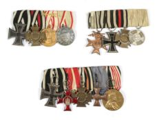 Three Imperial German Medal Bars 1914 Iron Cross 2nd Class; Hindenburg Cross with Swords;