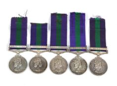 A Collection of Elizabeth II General Service Medals EII Near East S/23193923 Pte L L Cooklin RASC