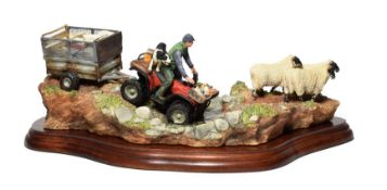 Border Fine Arts 'All In A Day's Work' (Farmer on ATV Herding Sheep), model No. B0593 by Kirsty