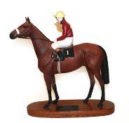 Beswick Connoisseur Horse 'Red Rum - Brian Fletcher Up', model No. 2511, bay matt, on wooden
