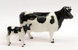 Beswick Friesian Cow Ch. ''Claybury Leegwater'', model No. 1362A and Friesian Calf, model No. 1249C,