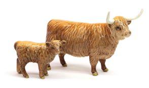 Beswick Highland Cow, model No. 1740 and Highland Calf, model No. 1827D, both tan and brown gloss (