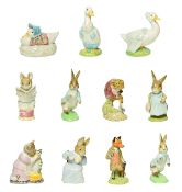 Beswick Beatrix Potter Figures Including: 'Mr. Jeremy Fisher Digging, 'Mr. Todd and 'Tabitha