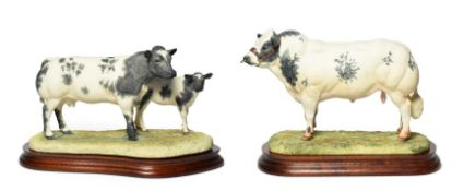 Border Fine Arts 'Belgian Blue Cow and Calf' (Style One), model No.B0590 by Ray Ayres, limited