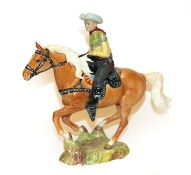 Beswick Canadian Mounted Cowboy, model No. 1377, palomino gloss (a.f). Restoration to all four