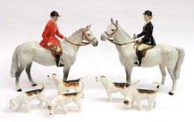 Beswick Hunting Group Comprising: Huntsman, model No. 1501 and Huntswoman, model No. 1730, both