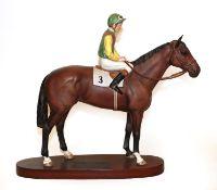 Beswick Connoisseur Horse 'Nijinsky - Lester Piggott Up', model No. 2352, on wooden plinth (a.f).