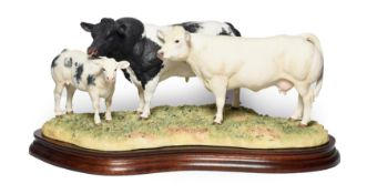 Border Fine Arts 'Belgian Blue Family Group', model No. B0771A by Kirsty Armstrong, limited
