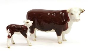 Beswick Hereford Cow, model No. 1360 and Hereford Calf, model No. 1406B, brown and white gloss (2)
