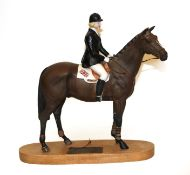 Beswick Connoisseur Horse 'Psalm - Ann Moore Up', model No. 2535, on wooden plinth (a.f)