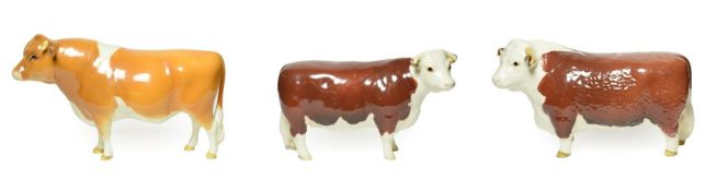Beswick Cattle Comprising: Hereford Bull, first version, model No. 1363A and Hereford Cow, model No.