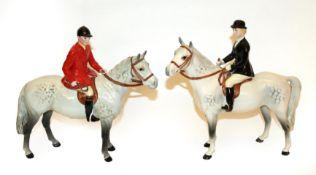 Beswick Huntsman, Style Two: Standing, model No. 1501 and Huntswoman, Style Two, model No. 1730,