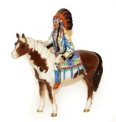 Beswick Mounted Indian, model No. 1391, Skewbald gloss (a.f.). Chip and restoration to one ear of