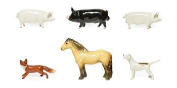 Beswick Animals Comprising: Highland Pony ''Mackionneach'', model No. 1644; Berkshire Boar, model