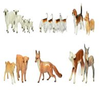 Beswick Animals Including: Hereford Calf, model No. 854, brown and white gloss; Highland Calf, mode