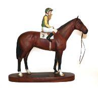 Beswick Connoisseur Horse 'Nijinsky - Lester Piggott Up', model No. 2352, bay matt, on wooden