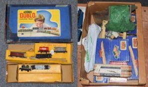 Hornby Dublo 3-Rail 2-6-4T BR 80054 Locomotive in plain card repair box and Meccano postage box (G