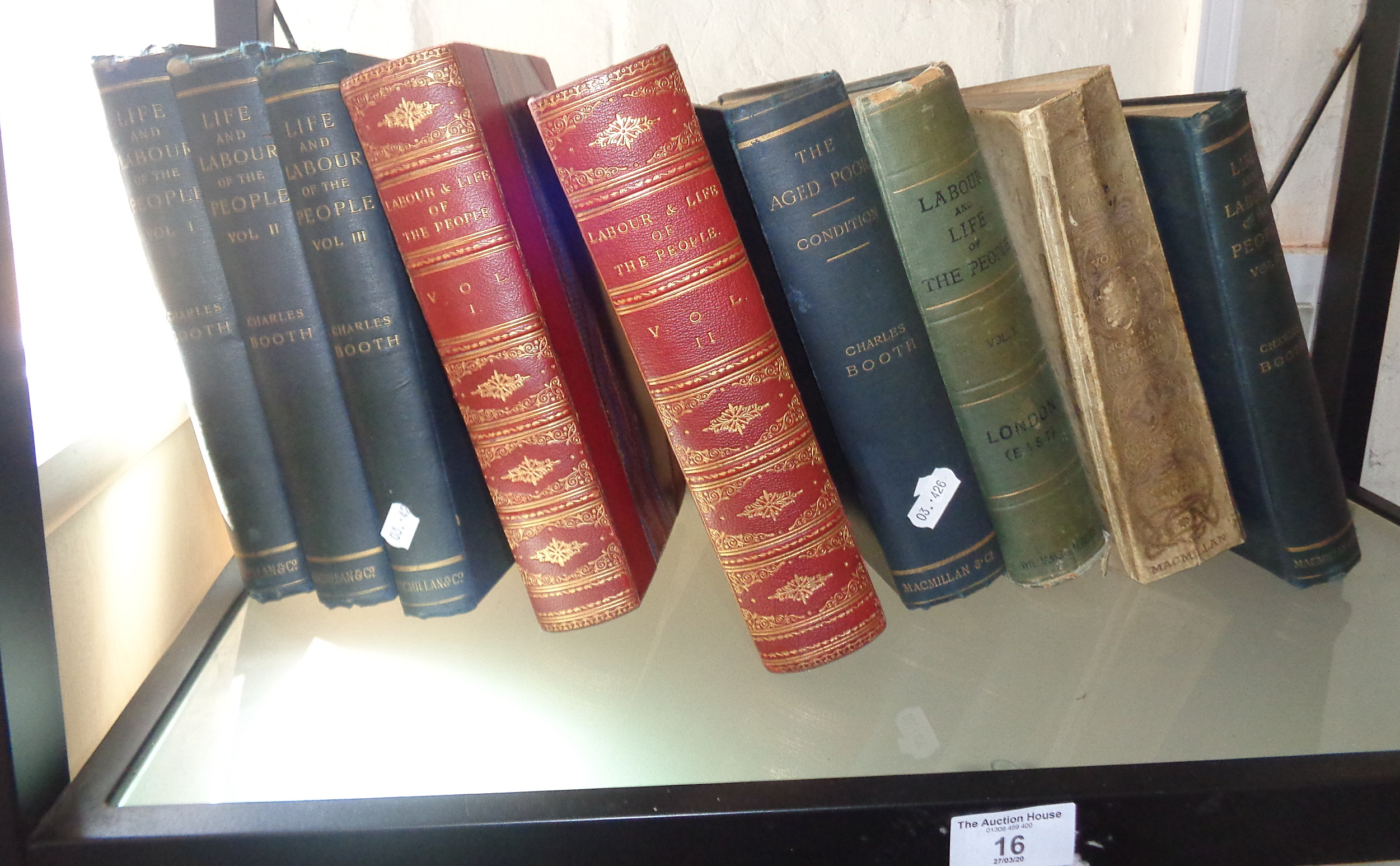 """Lot 16 - Nine books by Charles Booth, inc. 1891 """"Labour & Life of the People"""", 2 vols, half leather"""