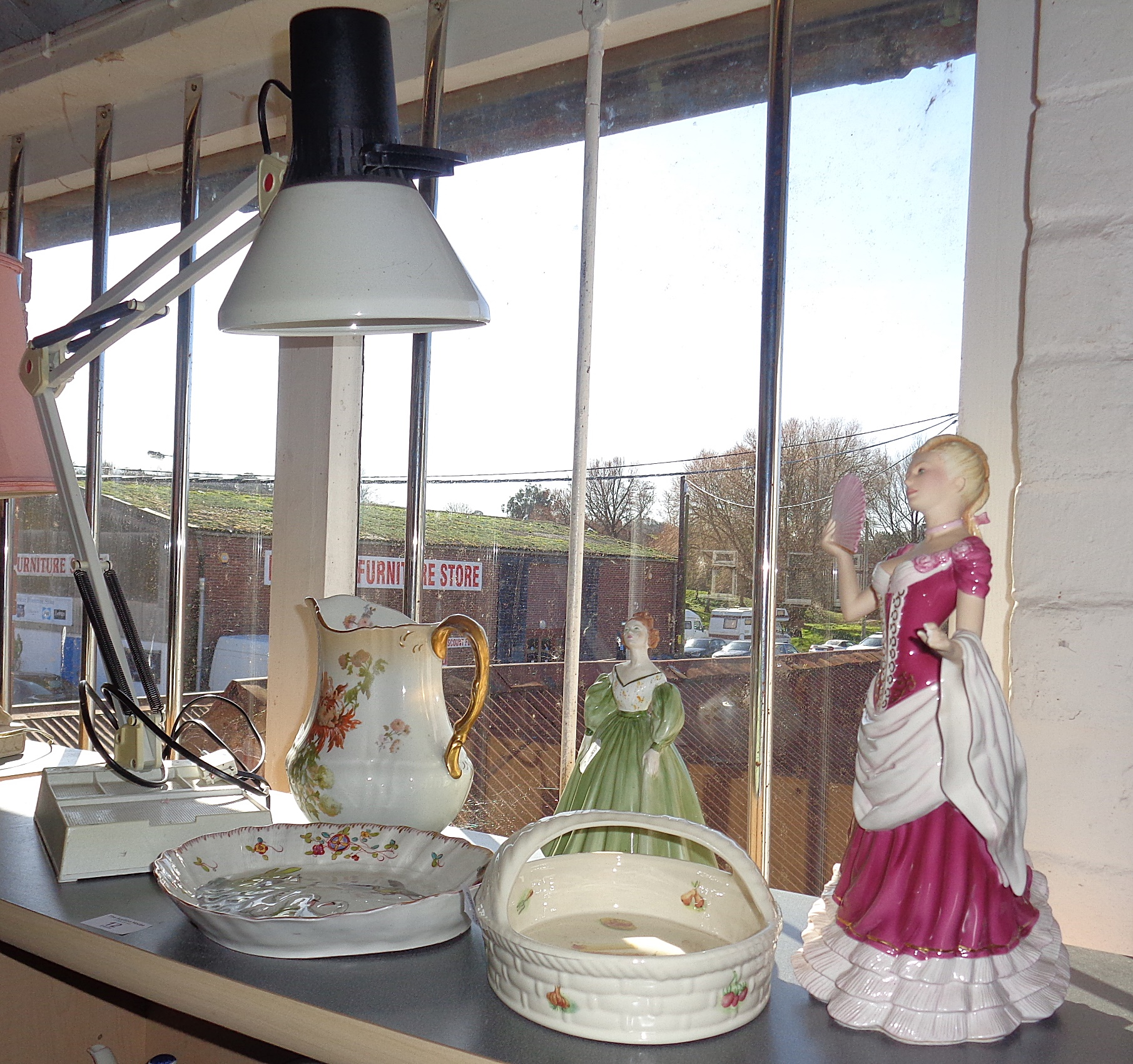 """Lot 12 - Contemporary Anglepoise type lamp, together with two china lady figurines, Aynsley china """"Kitchen"""