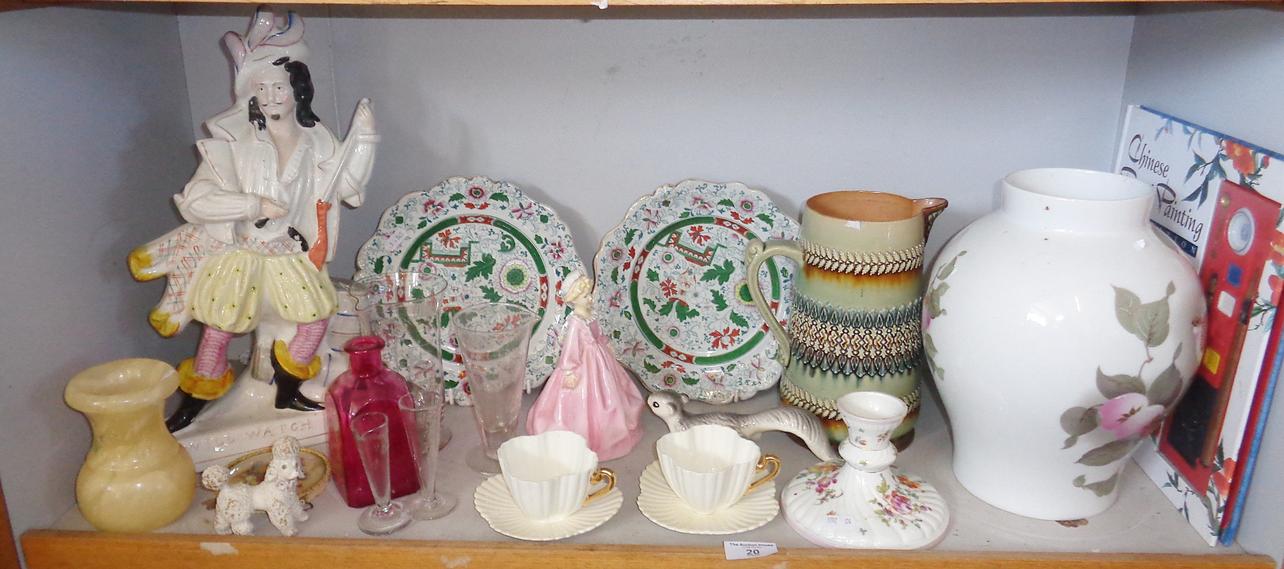Lot 20 - Shelf of assorted china and glass, inc. Staffordshire, Doulton stoneware, etc.