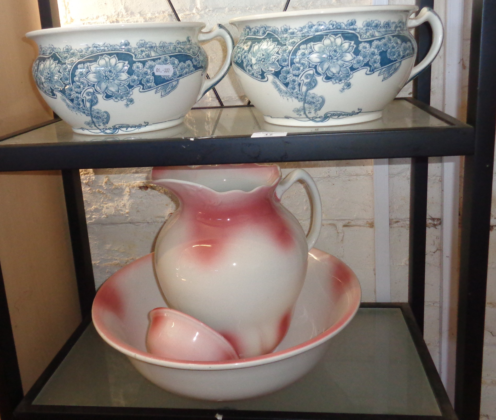 Lot 17 - Pair of Victorian Peerless china chamber pots and a wash jug and basin